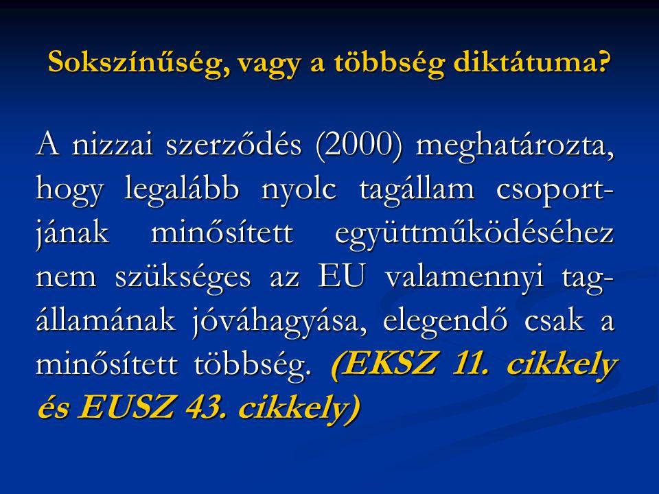 Sokszínűség, vagy a többség diktátuma? A nizzai szerződés (2000) meghatározta, hogy legalább nyolc tagállam csoport- jának minősített együttműködéséhe