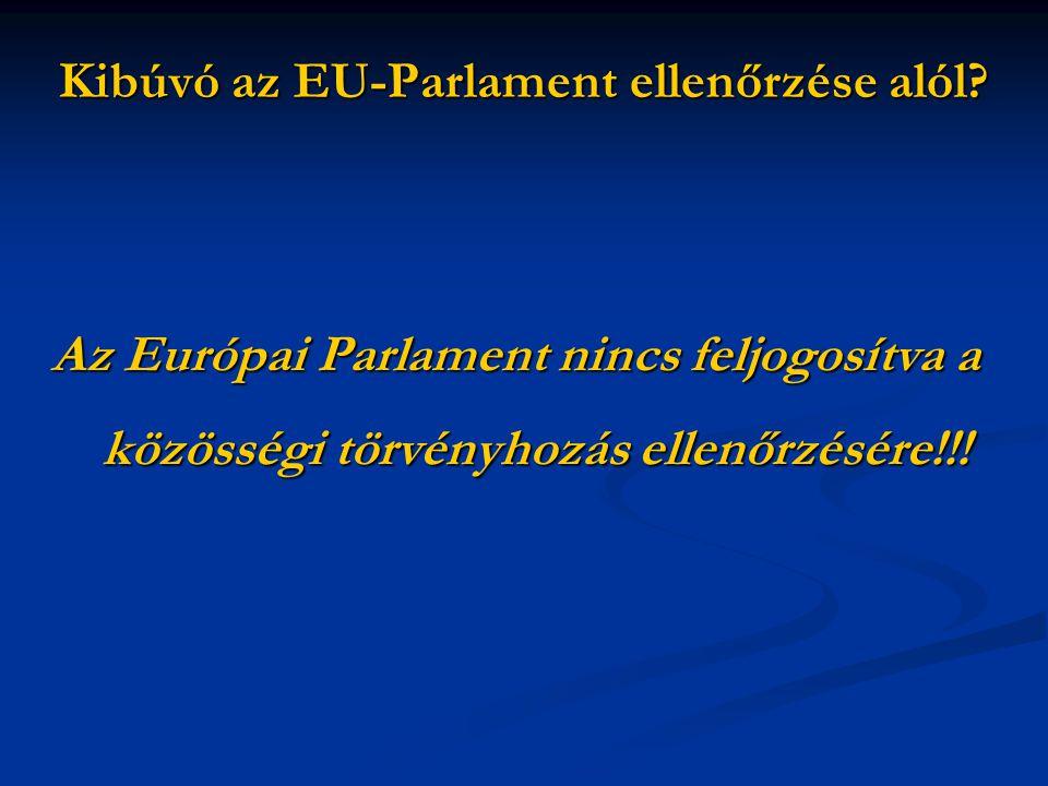 Az Európai Parlament nincs feljogosítva a közösségi törvényhozás ellenőrzésére!!!