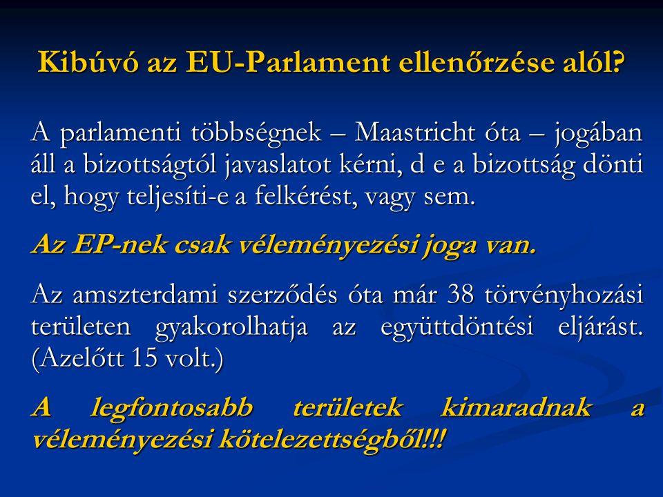 Kibúvó az EU-Parlament ellenőrzése alól? A parlamenti többségnek – Maastricht óta – jogában áll a bizottságtól javaslatot kérni, d e a bizottság dönti