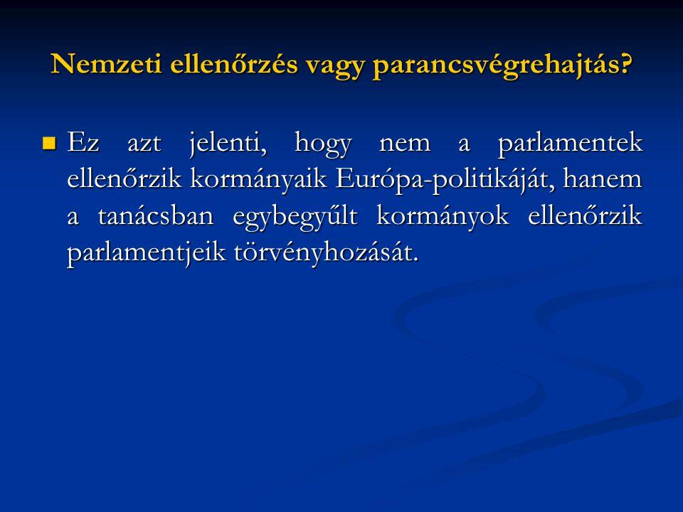 Nemzeti ellenőrzés vagy parancsvégrehajtás?  Ez azt jelenti, hogy nem a parlamentek ellenőrzik kormányaik Európa-politikáját, hanem a tanácsban egybe