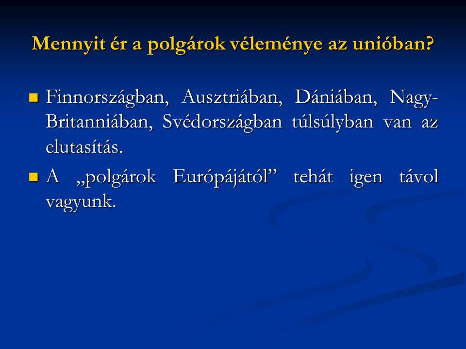 Mennyit ér a polgárok véleménye az unióban?  Finnországban, Ausztriában, Dániában, Nagy- Britanniában, Svédországban túlsúlyban van az elutasítás. 