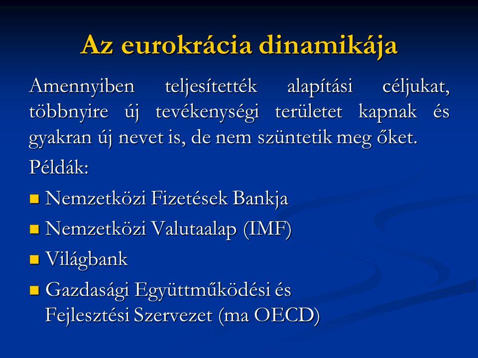 Az eurokrácia dinamikája Amennyiben teljesítették alapítási céljukat, többnyire új tevékenységi területet kapnak és gyakran új nevet is, de nem szüntetik meg őket.