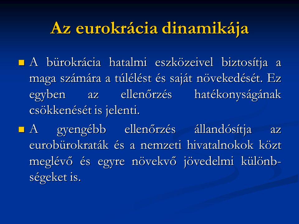 Az eurokrácia dinamikája  A bürokrácia hatalmi eszközeivel biztosítja a maga számára a túlélést és saját növekedését. Ez egyben az ellenőrzés hatékon