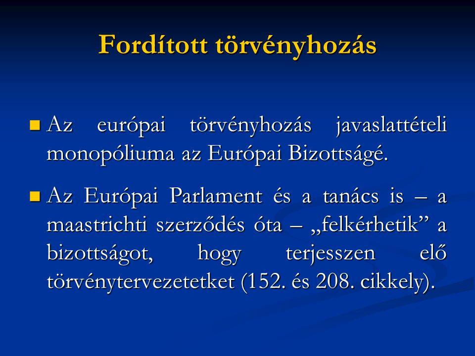  Az európai törvényhozás javaslattételi monopóliuma az Európai Bizottságé.