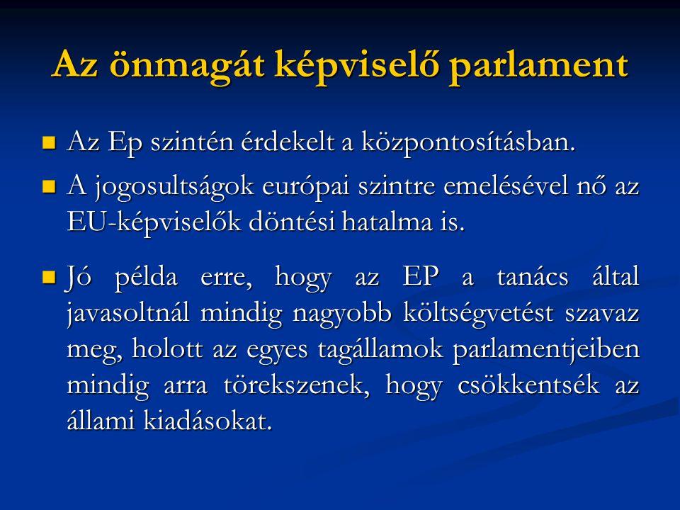  Az Ep szintén érdekelt a központosításban.  A jogosultságok európai szintre emelésével nő az EU-képviselők döntési hatalma is.  Jó példa erre, hog