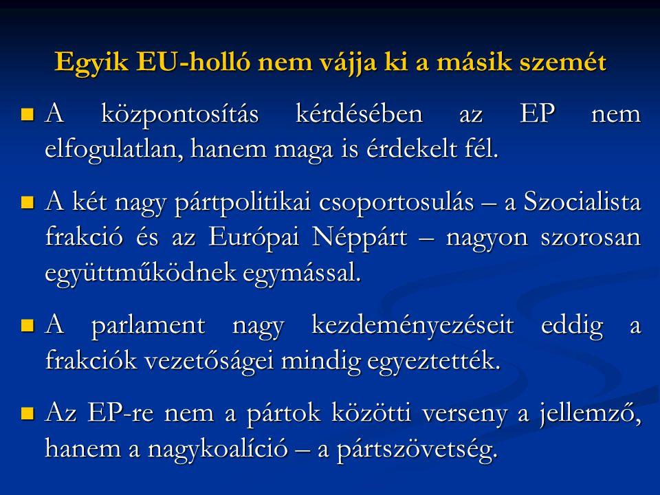 Egyik EU-holló nem vájja ki a másik szemét  A központosítás kérdésében az EP nem elfogulatlan, hanem maga is érdekelt fél.  A két nagy pártpolitikai