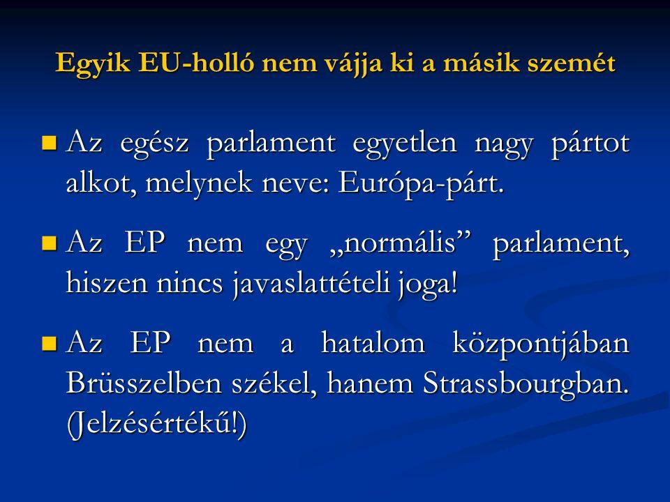 """Egyik EU-holló nem vájja ki a másik szemét  Az egész parlament egyetlen nagy pártot alkot, melynek neve: Európa-párt.  Az EP nem egy """"normális"""" parl"""