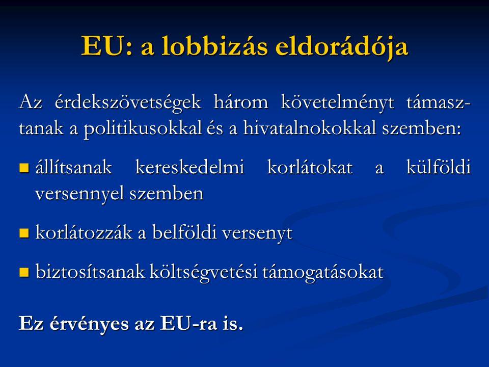 EU: a lobbizás eldorádója Az érdekszövetségek három követelményt támasz- tanak a politikusokkal és a hivatalnokokkal szemben:  állítsanak kereskedelmi korlátokat a külföldi versennyel szemben  korlátozzák a belföldi versenyt  biztosítsanak költségvetési támogatásokat Ez érvényes az EU-ra is.