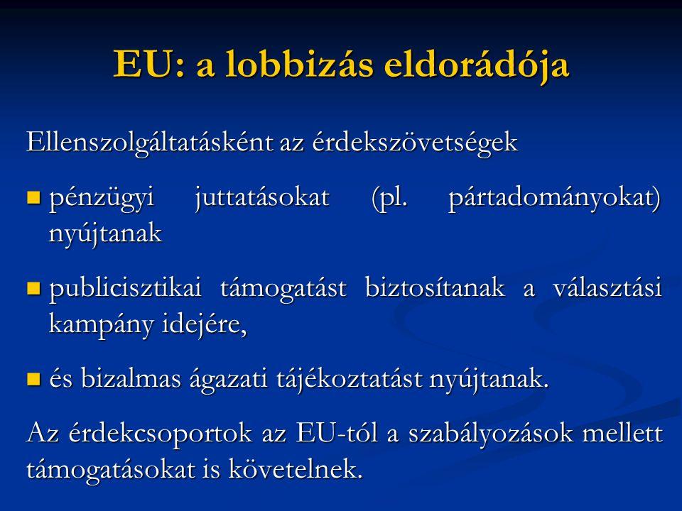 EU: a lobbizás eldorádója Ellenszolgáltatásként az érdekszövetségek  pénzügyi juttatásokat (pl.