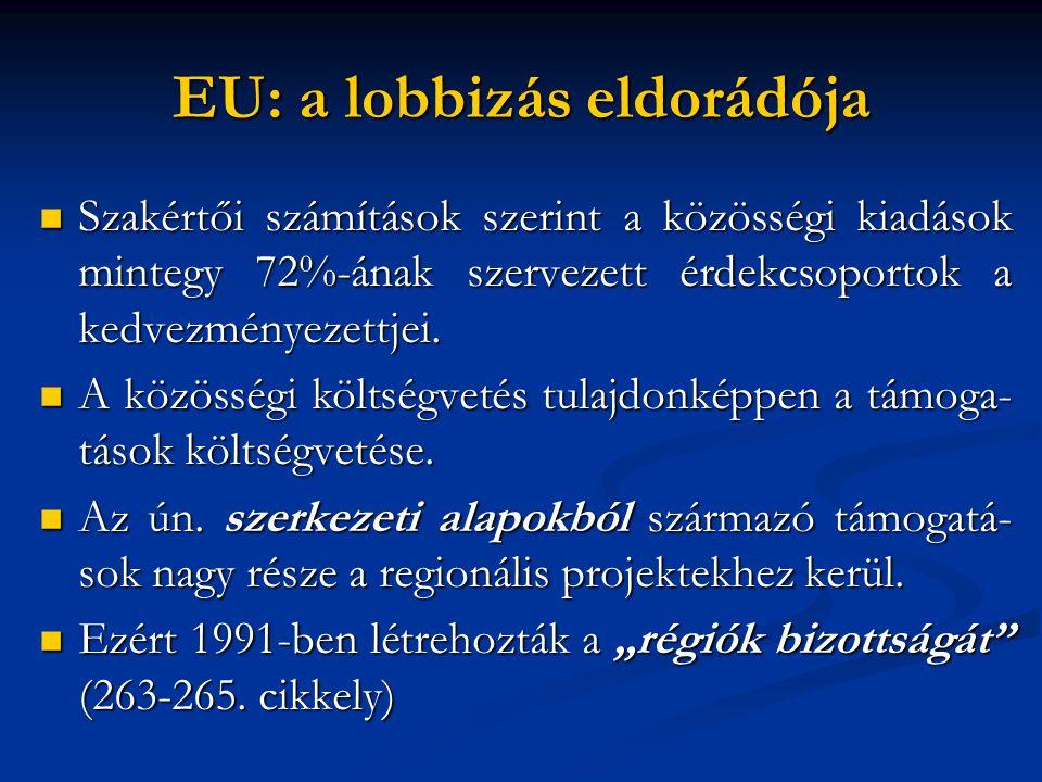 EU: a lobbizás eldorádója  Szakértői számítások szerint a közösségi kiadások mintegy 72%-ának szervezett érdekcsoportok a kedvezményezettjei.