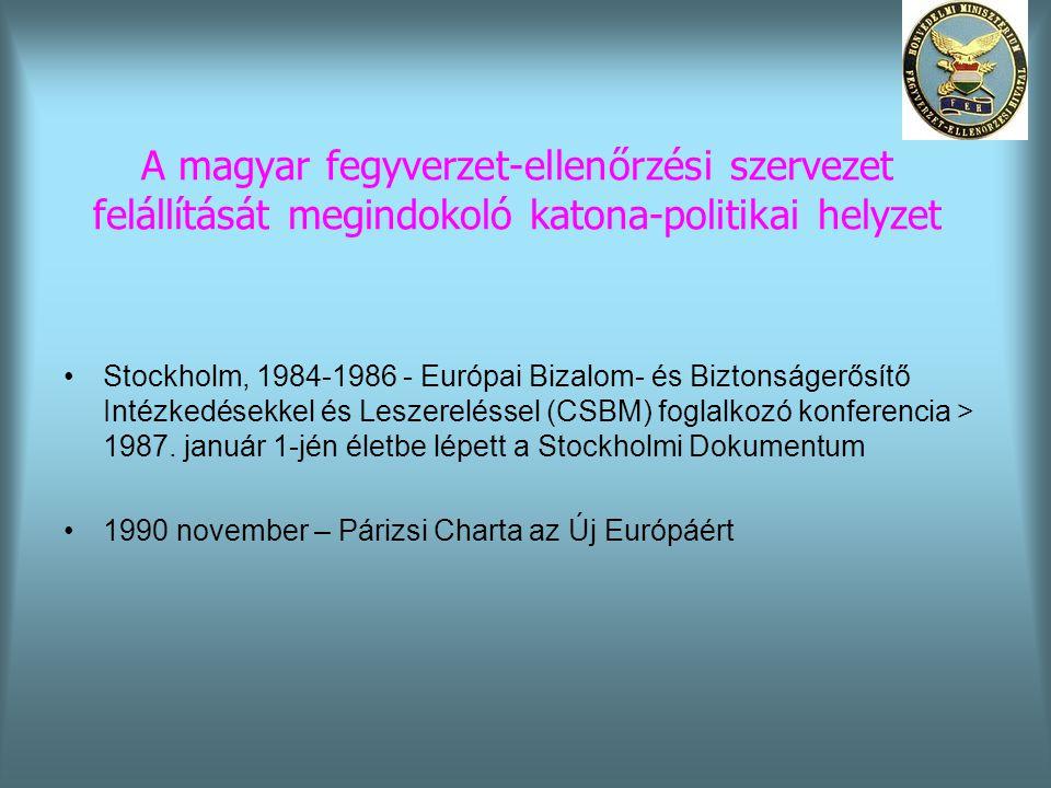 A magyar fegyverzet-ellenőrzési szervezet felállítását megindokoló katona-politikai helyzet •Stockholm, 1984-1986 - Európai Bizalom- és Biztonságerősí