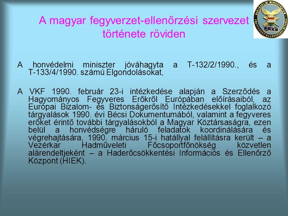 A magyar fegyverzet-ellenőrzési szervezet története röviden A honvédelmi miniszter jóváhagyta a T-132/2/1990., és a T-133/4/1990. számú Elgondolásokat