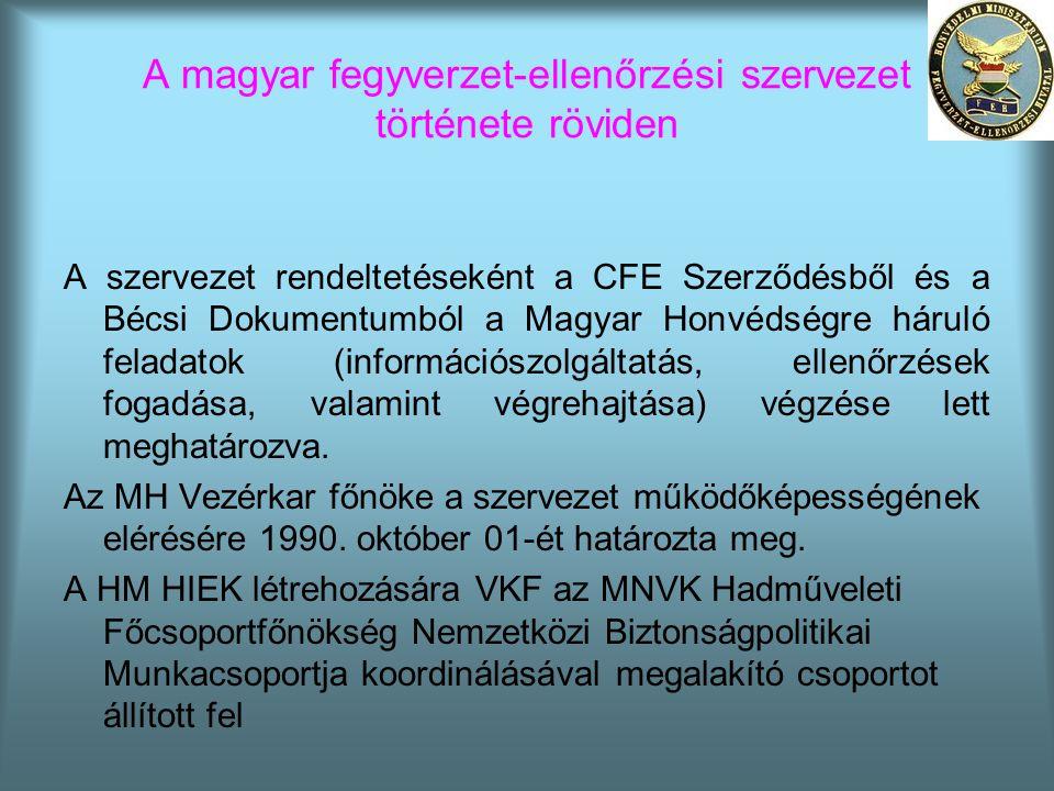 A magyar fegyverzet-ellenőrzési szervezet története röviden A szervezet rendeltetéseként a CFE Szerződésből és a Bécsi Dokumentumból a Magyar Honvédsé