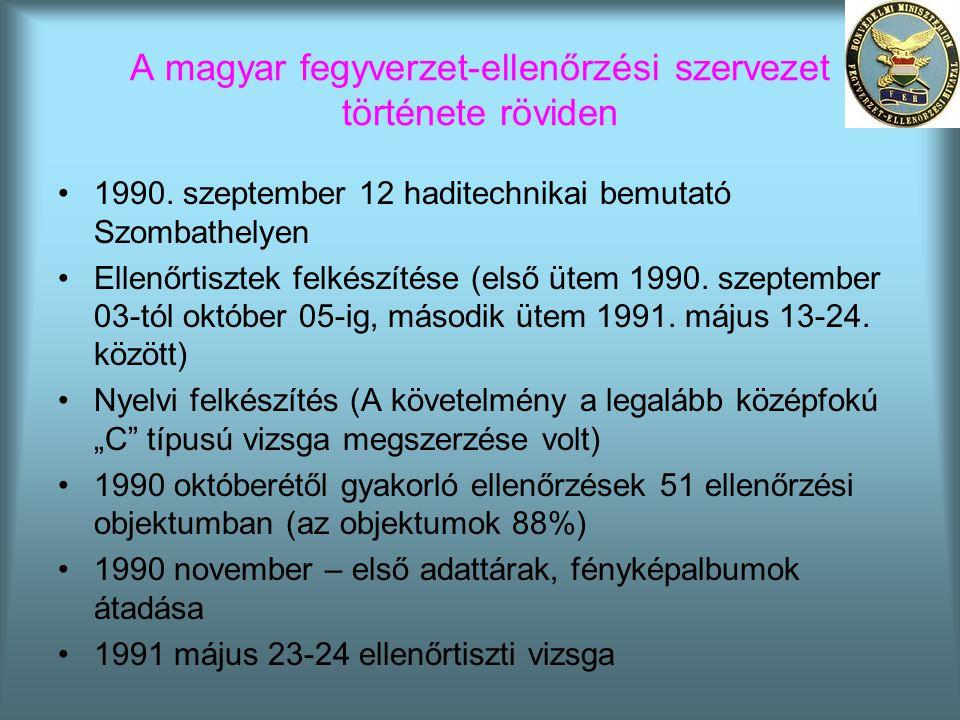 A magyar fegyverzet-ellenőrzési szervezet története röviden •1990. szeptember 12 haditechnikai bemutató Szombathelyen •Ellenőrtisztek felkészítése (el
