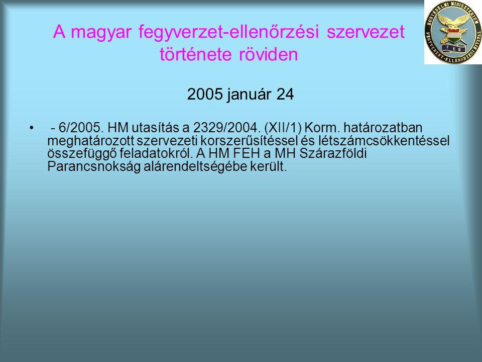 A magyar fegyverzet-ellenőrzési szervezet története röviden 2005 január 24 • - 6/2005. HM utasítás a 2329/2004. (XII/1) Korm. határozatban meghatározo
