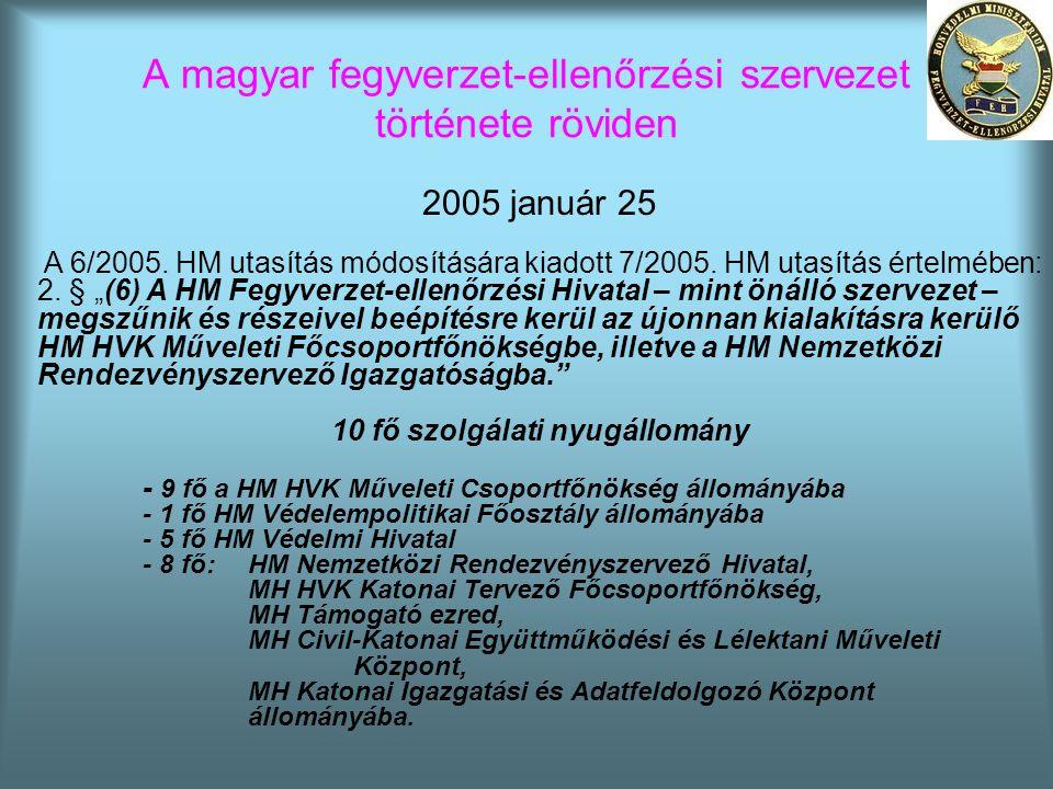 A magyar fegyverzet-ellenőrzési szervezet története röviden 2005 január 25 A 6/2005. HM utasítás módosítására kiadott 7/2005. HM utasítás értelmében: