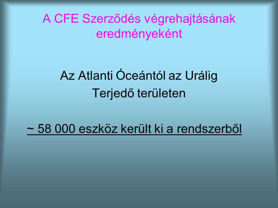 A CFE Szerződés végrehajtásának eredményeként Az Atlanti Óceántól az Urálig Terjedő területen ~ 58 000 eszköz került ki a rendszerből