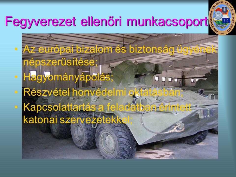 Fegyverezet ellenőri munkacsoport •Az európai bizalom és biztonság ügyének népszerűsítése; •Hagyományápolás; •Részvétel honvédelmi oktatásban; •Kapcso