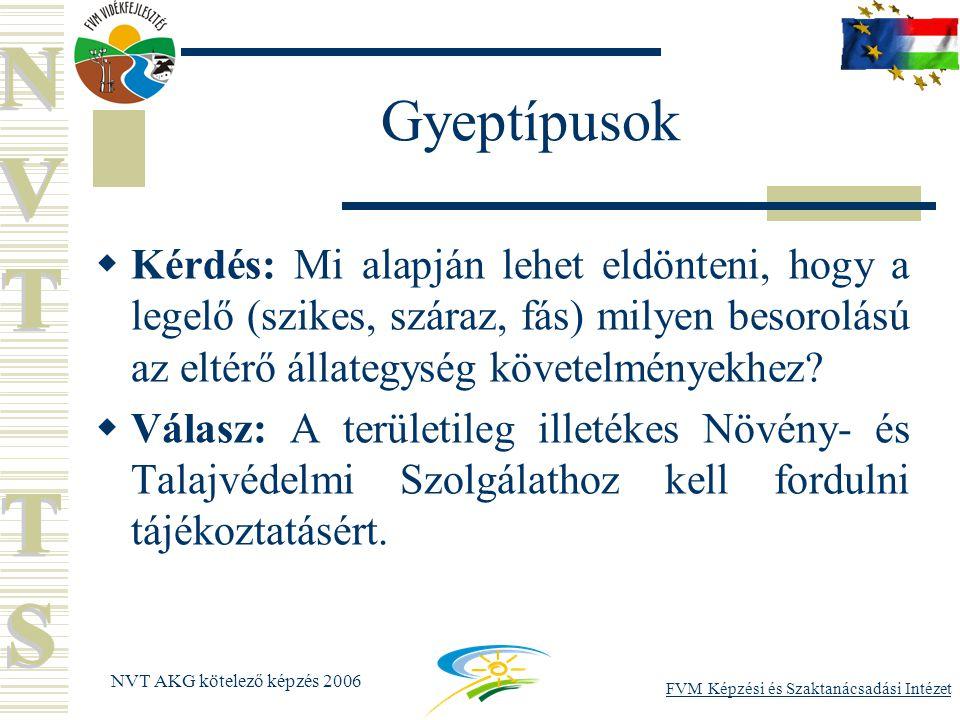 FVM Képzési és Szaktanácsadási Intézet NVT AKG kötelező képzés 2006 Gyeptípusok  Kérdés: Mi alapján lehet eldönteni, hogy a legelő (szikes, száraz, fás) milyen besorolású az eltérő állategység követelményekhez.