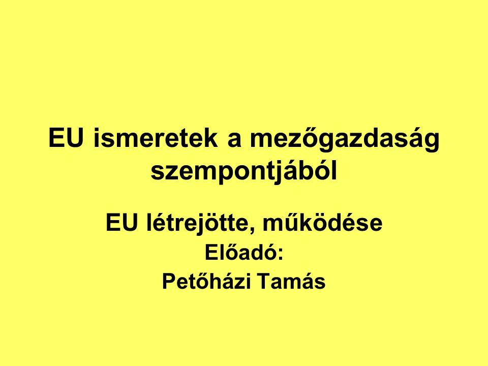 EU ismeretek a mezőgazdaság szempontjából EU létrejötte, működése Előadó: Petőházi Tamás