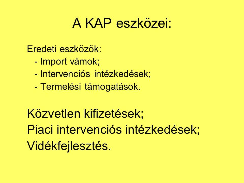 A KAP eszközei: Eredeti eszközök: - Import vámok; - Intervenciós intézkedések; - Termelési támogatások.