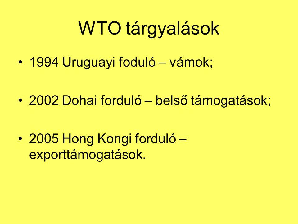 WTO tárgyalások •1994 Uruguayi foduló – vámok; •2002 Dohai forduló – belső támogatások; •2005 Hong Kongi forduló – exporttámogatások.