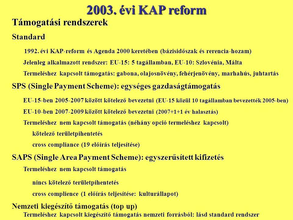 2003.évi KAP reform Támogatási rendszerek Standard 1992.