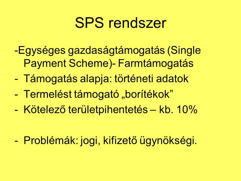 """SPS rendszer -Egységes gazdaságtámogatás (Single Payment Scheme)- Farmtámogatás -Támogatás alapja: történeti adatok -Termelést támogató """"borítékok -Kötelező területpihentetés – kb."""