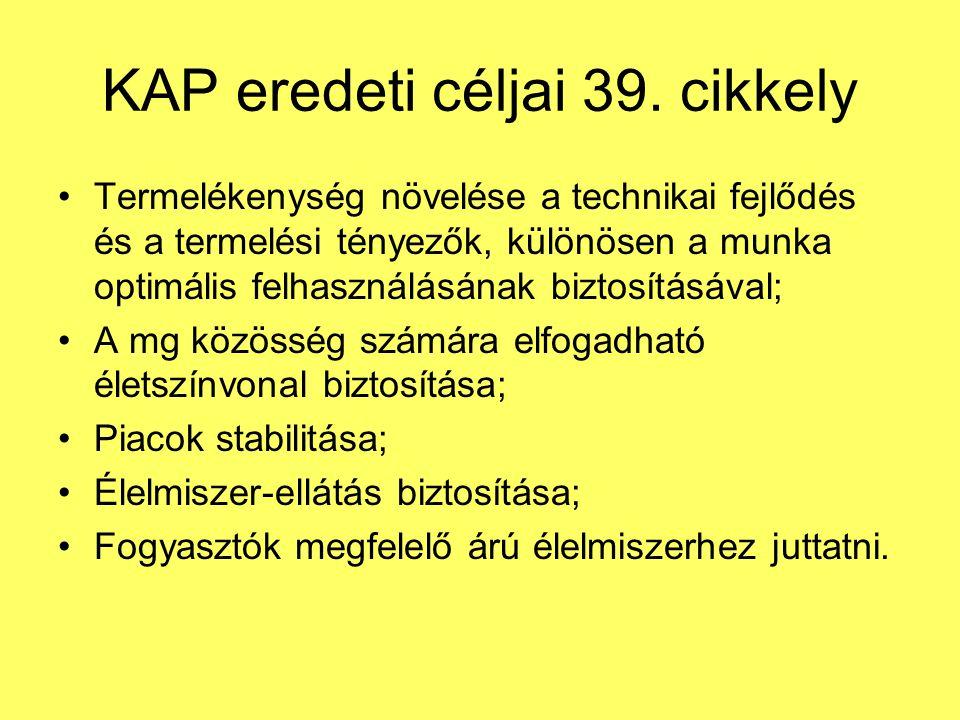 KAP eredeti céljai 39.