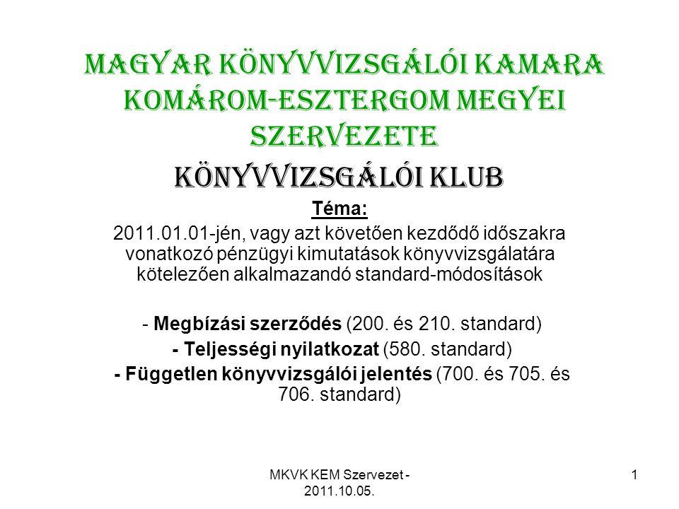 MKVK KEM Szervezet - 2011.10.05. 1 Magyar Könyvvizsgálói Kamara Komárom-Esztergom Megyei Szervezete KÖNYVVIZSGÁLÓI KLUB Téma: 2011.01.01-jén, vagy azt
