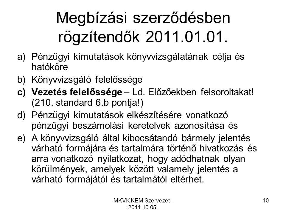 MKVK KEM Szervezet - 2011.10.05. 10 Megbízási szerződésben rögzítendők 2011.01.01. a)Pénzügyi kimutatások könyvvizsgálatának célja és hatóköre b)Könyv