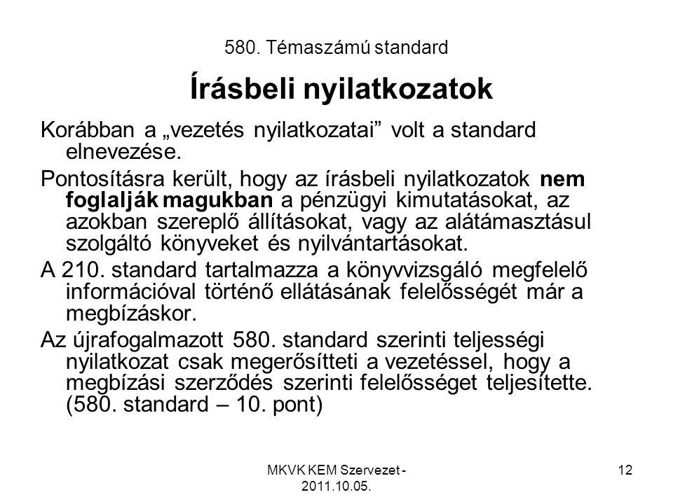 """MKVK KEM Szervezet - 2011.10.05. 12 580. Témaszámú standard Írásbeli nyilatkozatok Korábban a """"vezetés nyilatkozatai"""" volt a standard elnevezése. Pont"""