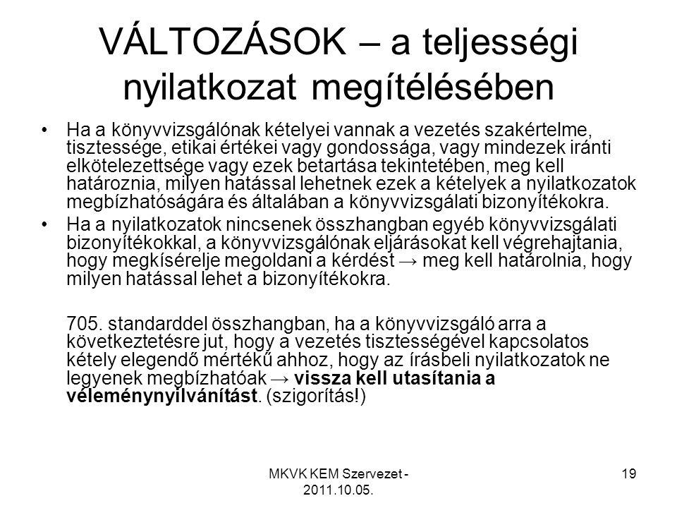 MKVK KEM Szervezet - 2011.10.05. 19 VÁLTOZÁSOK – a teljességi nyilatkozat megítélésében •Ha a könyvvizsgálónak kételyei vannak a vezetés szakértelme,