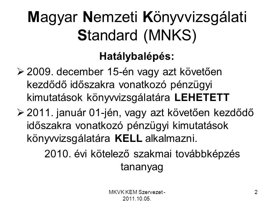 MKVK KEM Szervezet - 2011.10.05. 2 Magyar Nemzeti Könyvvizsgálati Standard (MNKS) Hatálybalépés:  2009. december 15-én vagy azt követően kezdődő idős