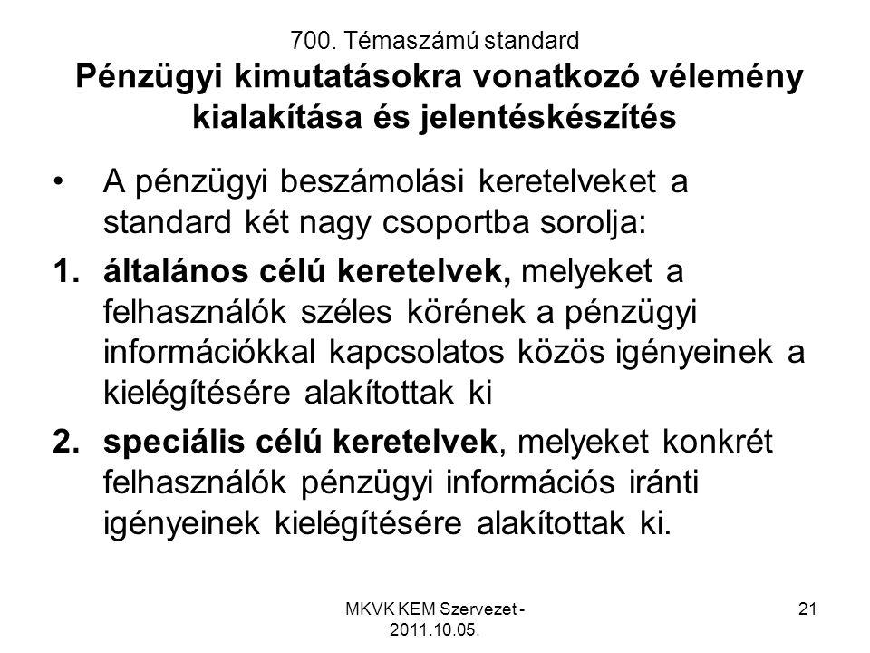 MKVK KEM Szervezet - 2011.10.05. 21 700. Témaszámú standard Pénzügyi kimutatásokra vonatkozó vélemény kialakítása és jelentéskészítés •A pénzügyi besz