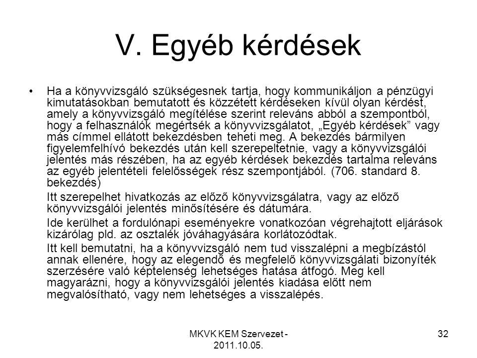 MKVK KEM Szervezet - 2011.10.05. 32 V. Egyéb kérdések •Ha a könyvvizsgáló szükségesnek tartja, hogy kommunikáljon a pénzügyi kimutatásokban bemutatott