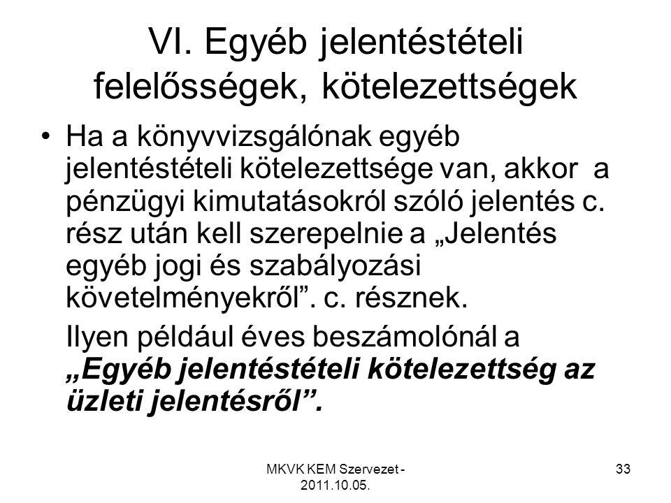 MKVK KEM Szervezet - 2011.10.05. 33 VI. Egyéb jelentéstételi felelősségek, kötelezettségek •Ha a könyvvizsgálónak egyéb jelentéstételi kötelezettsége