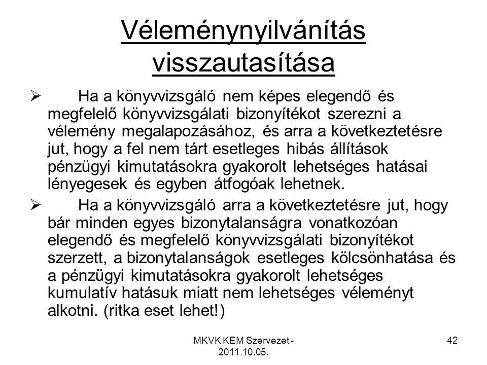 MKVK KEM Szervezet - 2011.10.05. 42 Véleménynyilvánítás visszautasítása  Ha a könyvvizsgáló nem képes elegendő és megfelelő könyvvizsgálati bizonyíté