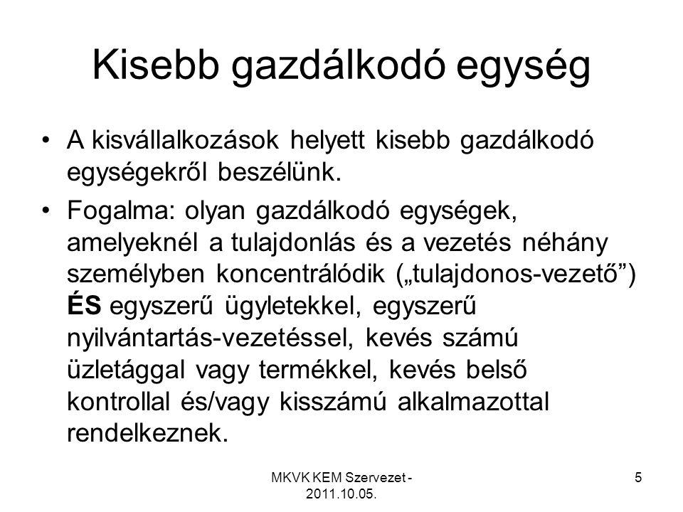 MKVK KEM Szervezet - 2011.10.05.6 210. Témaszámú standard (200.