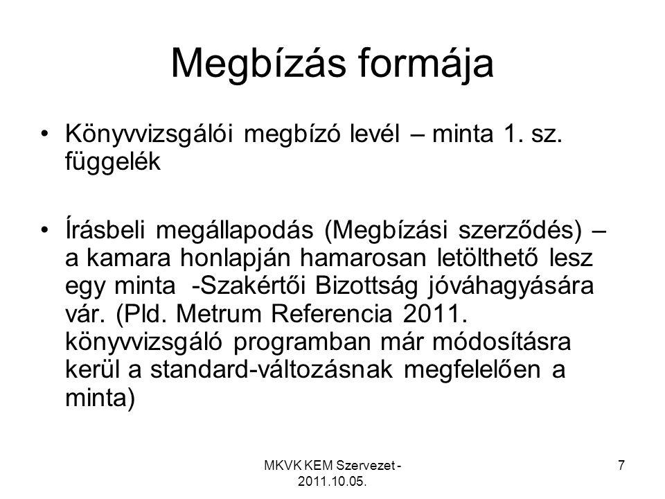 MKVK KEM Szervezet - 2011.10.05. 7 Megbízás formája •Könyvvizsgálói megbízó levél – minta 1. sz. függelék •Írásbeli megállapodás (Megbízási szerződés)