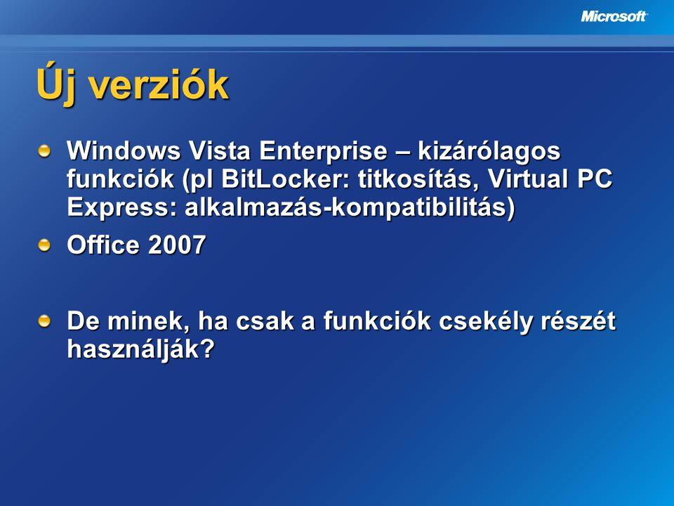 Új verziók Windows Vista Enterprise – kizárólagos funkciók (pl BitLocker: titkosítás, Virtual PC Express: alkalmazás-kompatibilitás) Office 2007 De mi