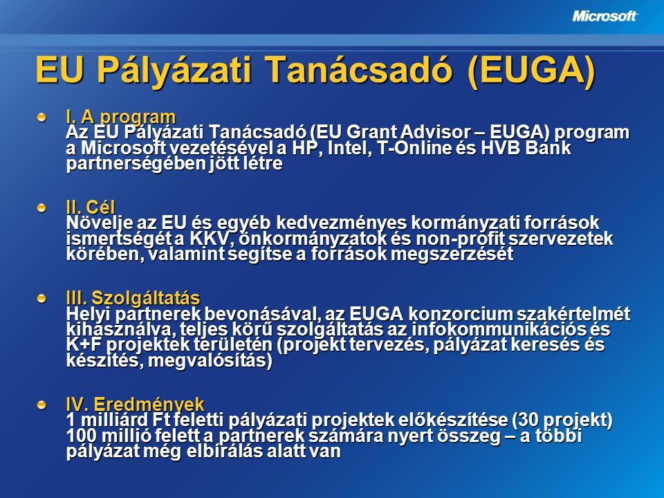 EU Pályázati Tanácsadó (EUGA) I. A program Az EU Pályázati Tanácsadó (EU Grant Advisor – EUGA) program a Microsoft vezetésével a HP, Intel, T-Online é