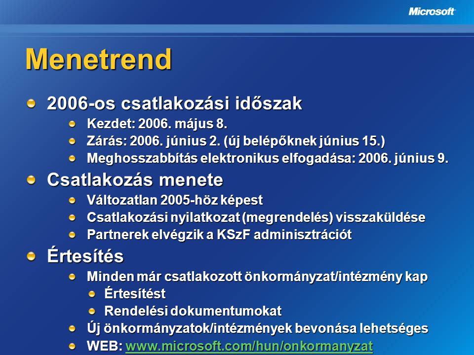 Menetrend 2006-os csatlakozási időszak Kezdet: 2006. május 8. Zárás: 2006. június 2. (új belépőknek június 15.) Meghosszabbítás elektronikus elfogadás