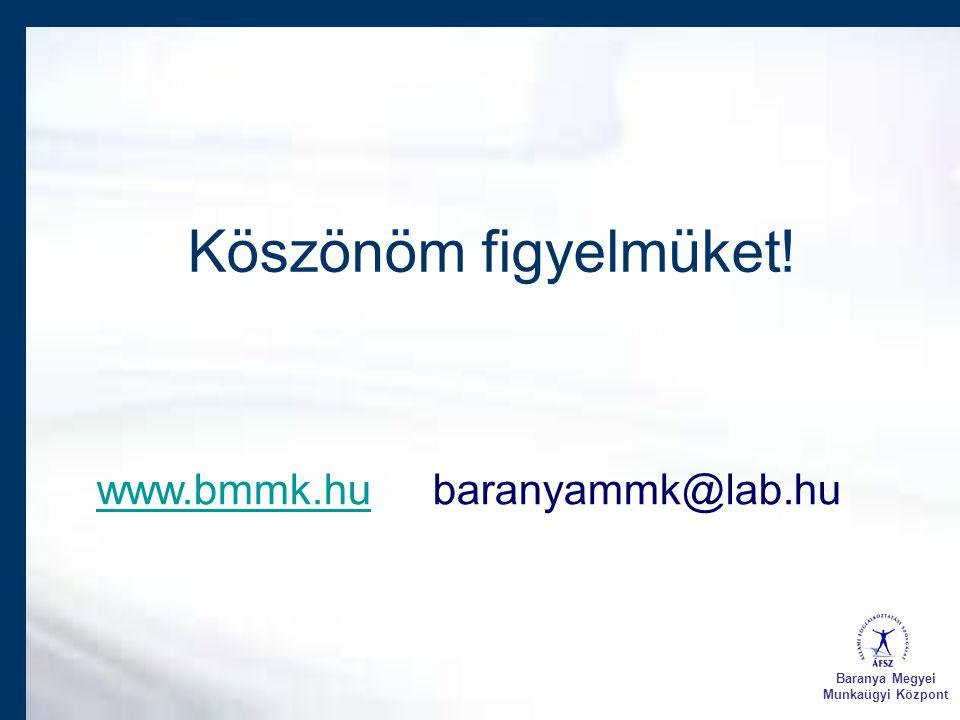 Köszönöm figyelmüket! www.bmmk.huwww.bmmk.hu baranyammk@lab.hu Baranya Megyei Munkaügyi Központ