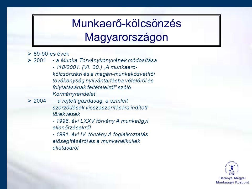 Baranya Megyei Munkaügyi Központ Munkaerő-kölcsönzés Magyarországon  89-90-es évek  2001 - a Munka Törvénykönyvének módosítása - 118/2001. (VI. 30.)