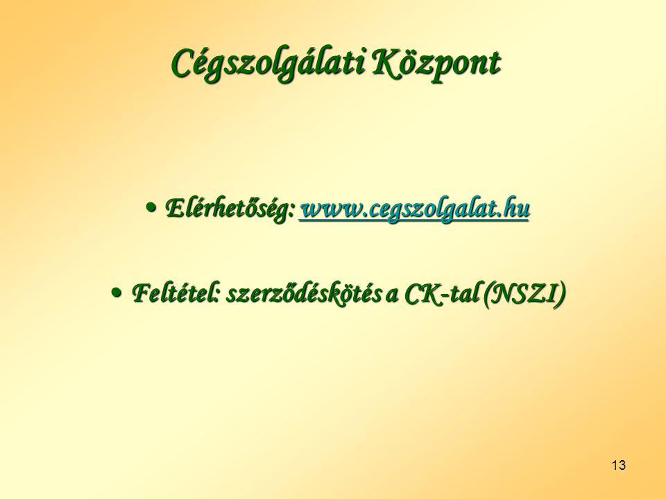 13 Cégszolgálati Központ •Elérhetőség: www.cegszolgalat.hu www.cegszolgalat.hu •Feltétel: szerződéskötés a CK-tal (NSZI)