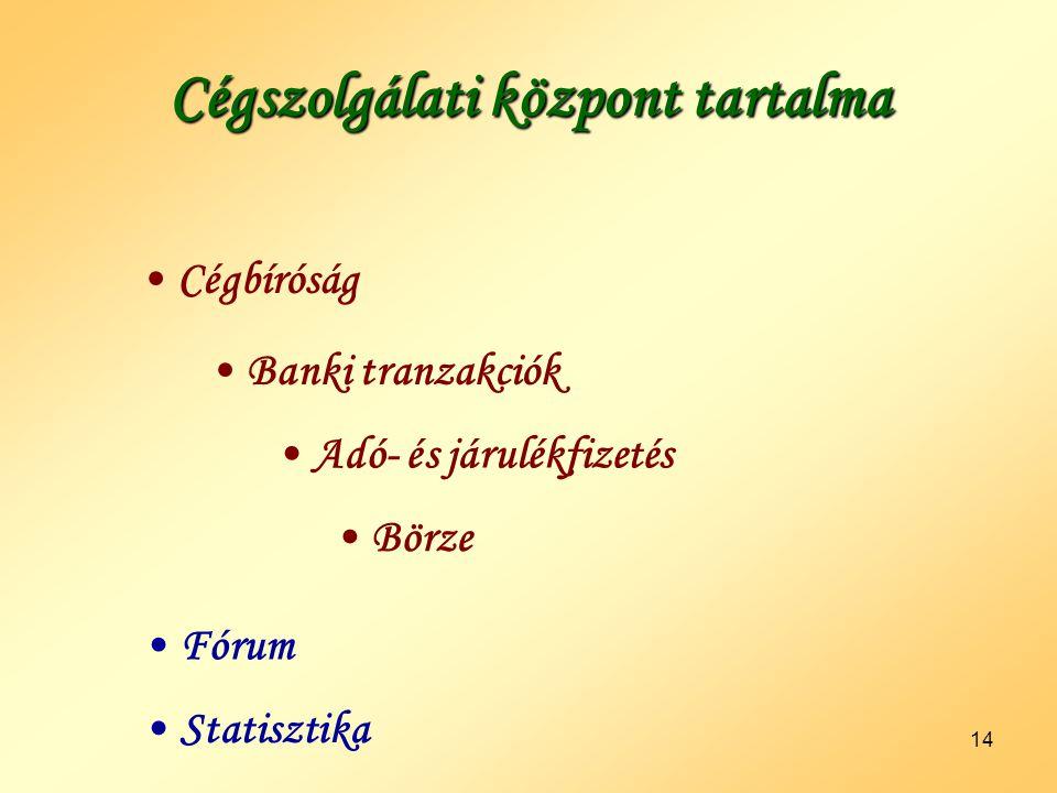 14 Cégszolgálati központ tartalma •Cégbíróság •Banki tranzakciók •Adó- és járulékfizetés •Börze •Statisztika •Fórum