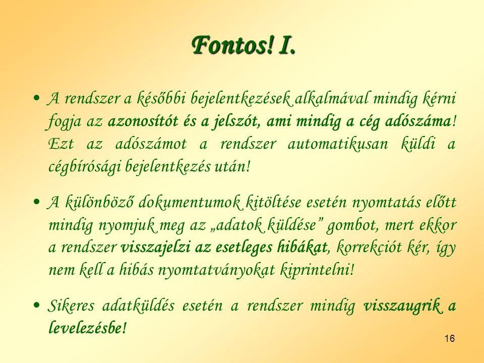 16 Fontos. I.
