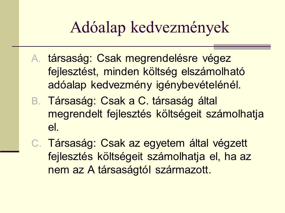 Adóalap kedvezmények A.