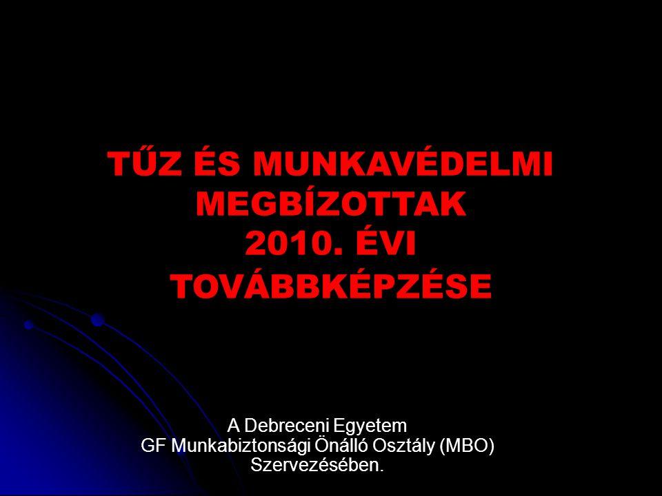 TŰZ ÉS MUNKAVÉDELMI MEGBÍZOTTAK 2010. ÉVI TOVÁBBKÉPZÉSE A Debreceni Egyetem GF Munkabiztonsági Önálló Osztály (MBO) Szervezésében.